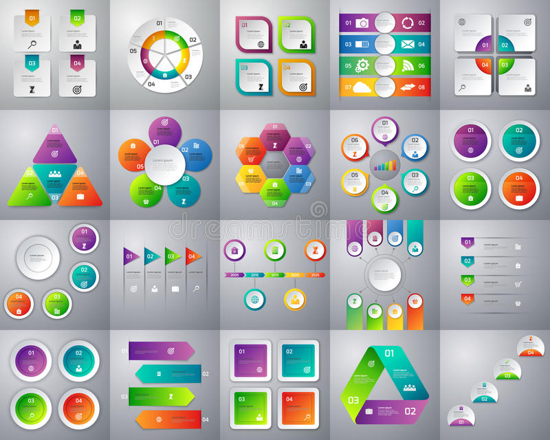 Vektorillustration av en mega samling av färgrikt infographic royaltyfri illustrationer