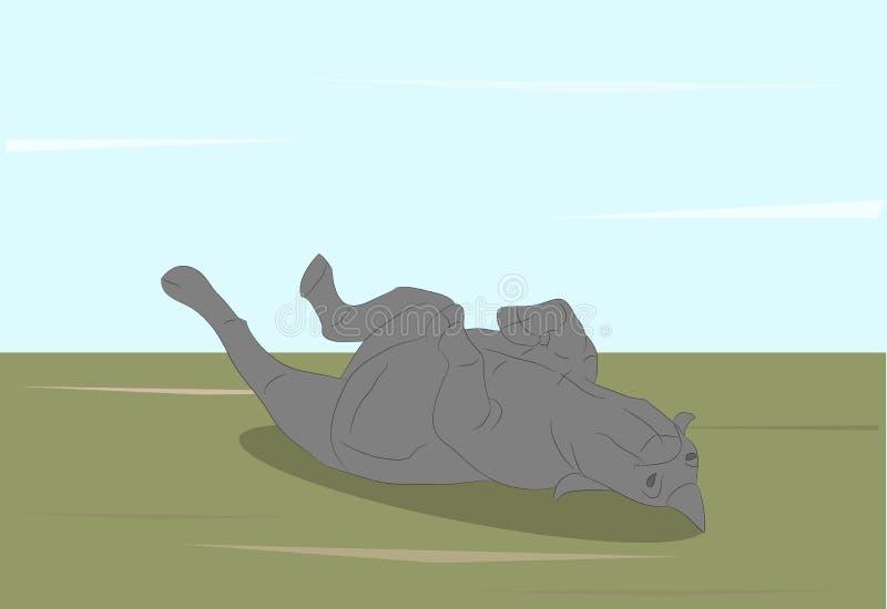 Vektorillustration av en noshörning som ligger på naturen arkivfoton