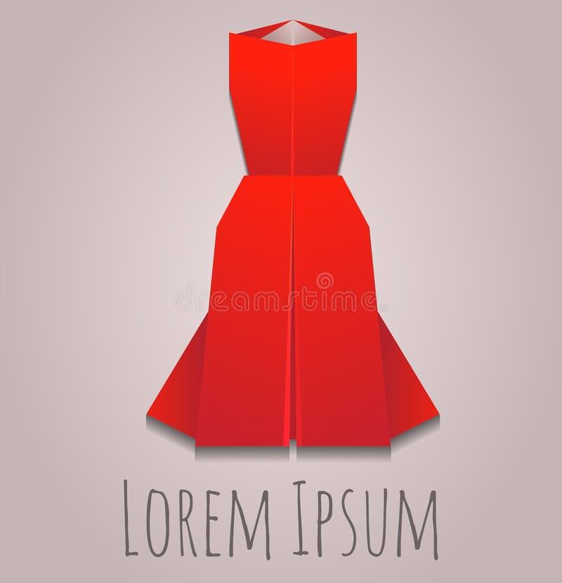 Vektorillustration av en pappers- origamiaftonklänning stock illustrationer
