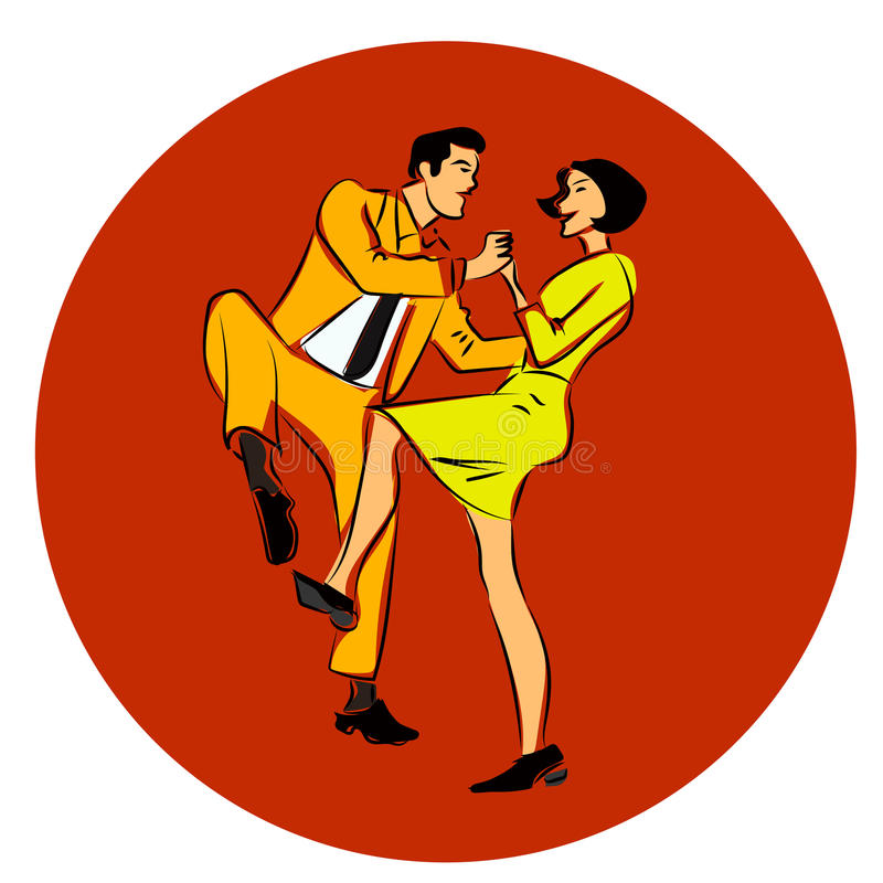 Vektorillustration av en pardansgunga, en vridning eller en lindy flygtur stock illustrationer