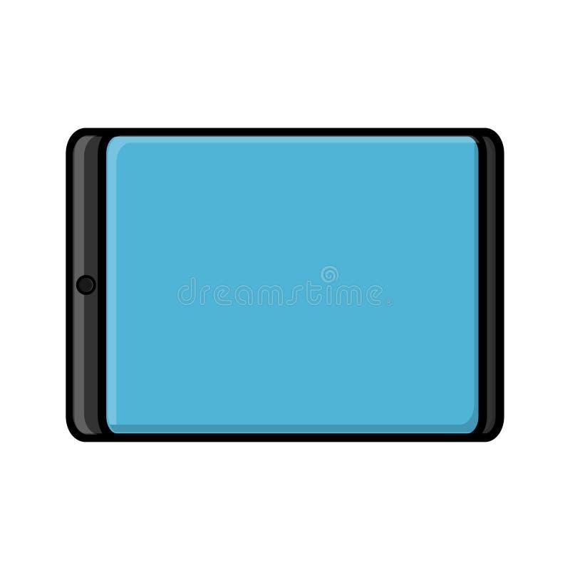 Vektorillustration av en plan symbol av en modern digital digital rektangulär mobil minnestavla som isoleras på vit bakgrund Begr vektor illustrationer