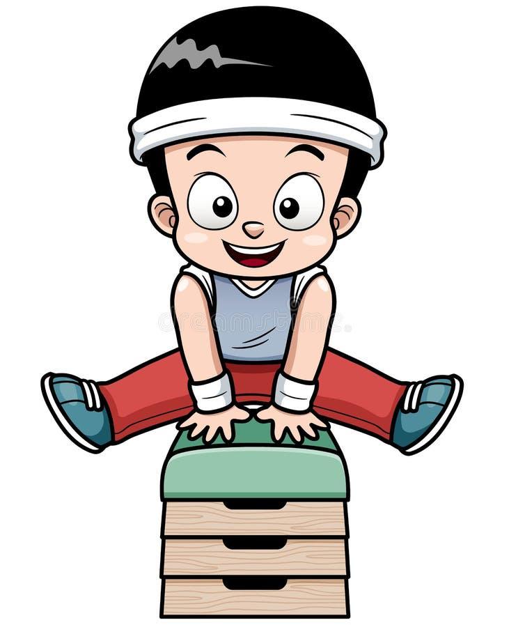 En pojke som hoppar gymnastisk bock stock illustrationer