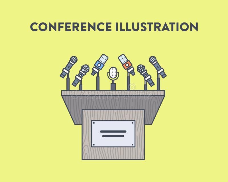 Vektorillustration av en presskonferens arkivfoto