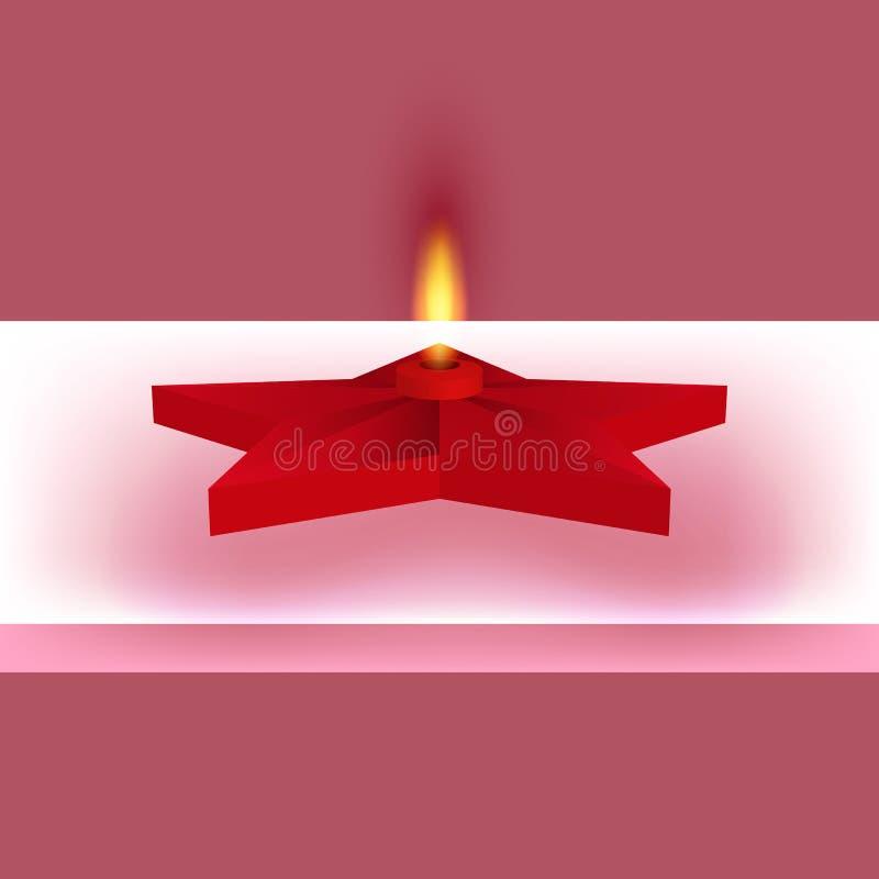 Vektorillustration av en röd stjärna med brand royaltyfri illustrationer