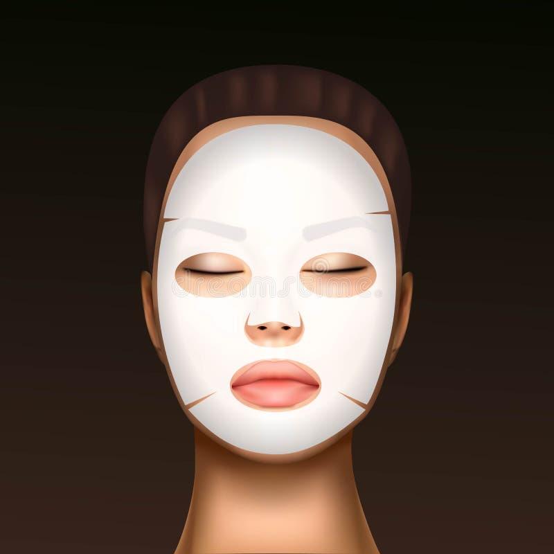 Vektorillustration av en realistisk framsida av en ung härlig flicka med kosmetiskt en ansikts- maskering för fukta mot vektor illustrationer