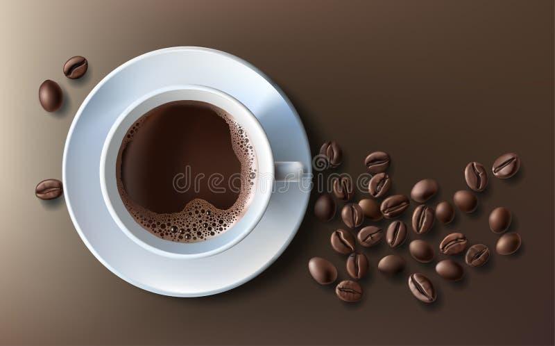 Vektorillustration av en realistisk stil av koppen för vitt kaffe med ett tefat och kaffebönor, bästa sikt som isoleras på brunt royaltyfri illustrationer