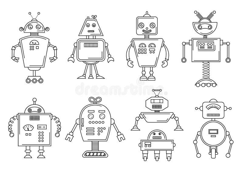 Vektorillustration av en robot Mekanisk teckendesign Uppsättning av fyra olika robotar Sida för färgläggningbok royaltyfri illustrationer