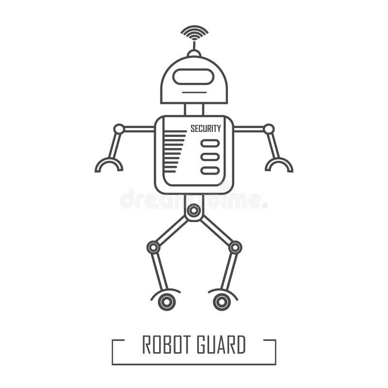 Vektorillustration av en robotvakt stock illustrationer