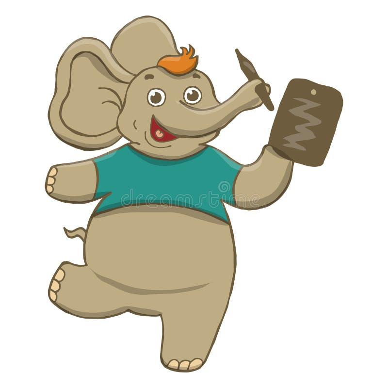 Vektorillustration av en rolig, grå gladlynt elefant i en blå t-skjorta och att dra på en minnestavla och att dansa, köra som skr vektor illustrationer