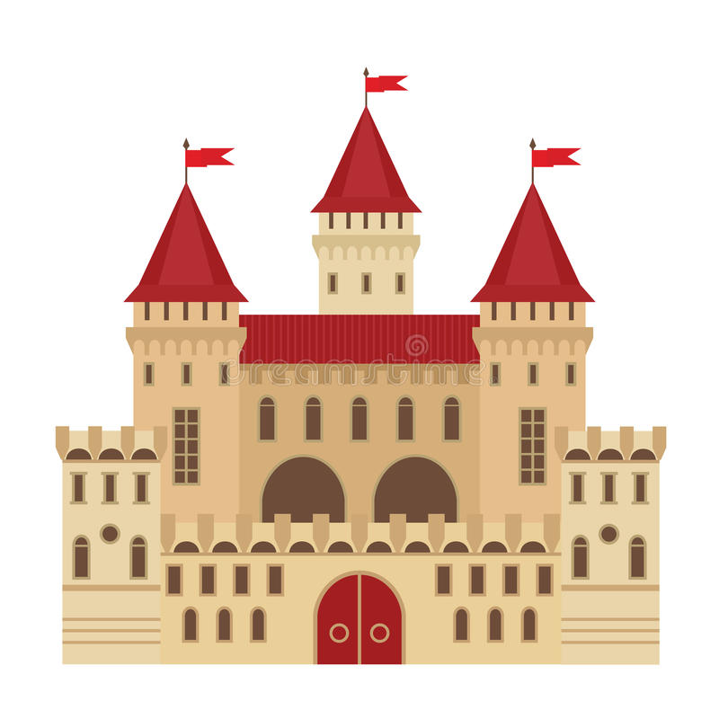 Vektorillustration av en slott i plan stil Medeltida stenfästning Abstrakt begrepp royaltyfri illustrationer