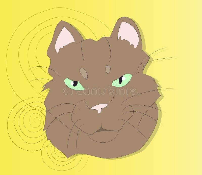 Vektorillustration av en stående av en katt på en kulör bakgrund arkivfoto