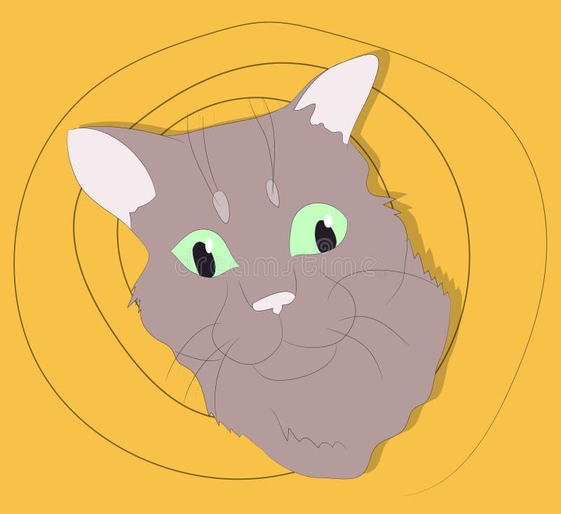 Vektorillustration av en stående av en katt på en kulör bakgrund fotografering för bildbyråer