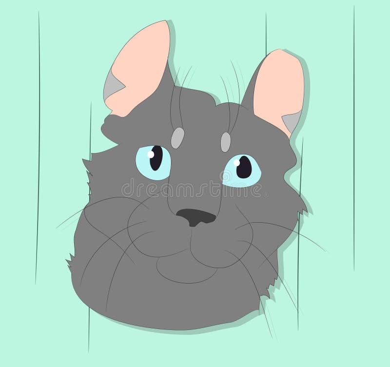 Vektorillustration av en stående av en katt på en kulör bakgrund arkivfoton