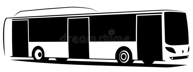 Vektorillustration av en stadsbuss med tre dörrar royaltyfri illustrationer