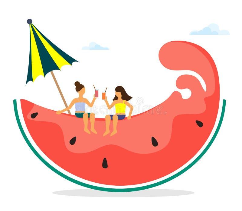 Vektorillustration av en stiliserad vattenmelonkil med sommartecken av flickor Vektorisolat p? vit bakgrund stock illustrationer