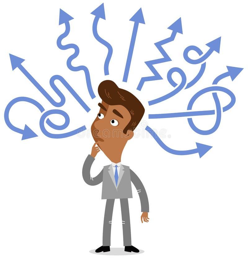 Vektorillustration av en tänkande asiatisk tecknad filmaffärsman som försöker att göra ett beslut med blåa pilar royaltyfri illustrationer