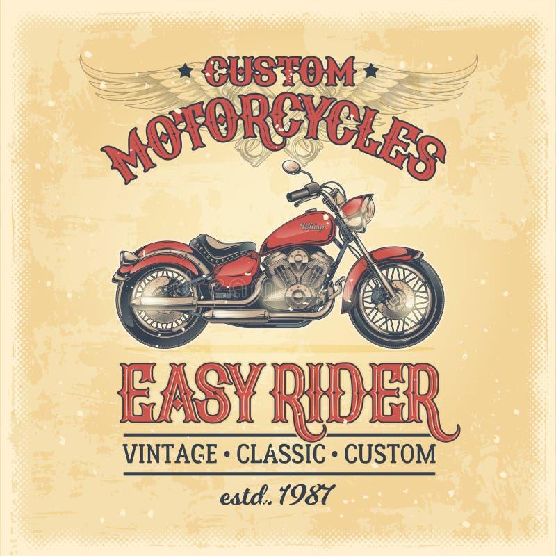 Vektorillustration av en tappningaffisch med en beställnings- motorcykel stock illustrationer