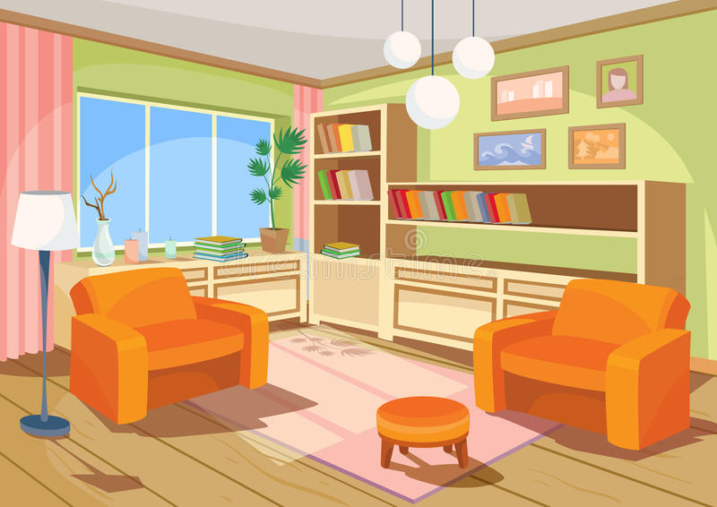 Vektorillustration av en tecknad filminre av ett orange hem- rum, en vardagsrum med två mjuka fåtöljer stock illustrationer