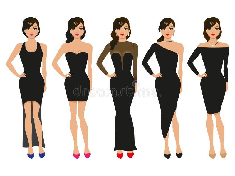 Vektorillustration av en uppsättning av aftonklänningar royaltyfri illustrationer