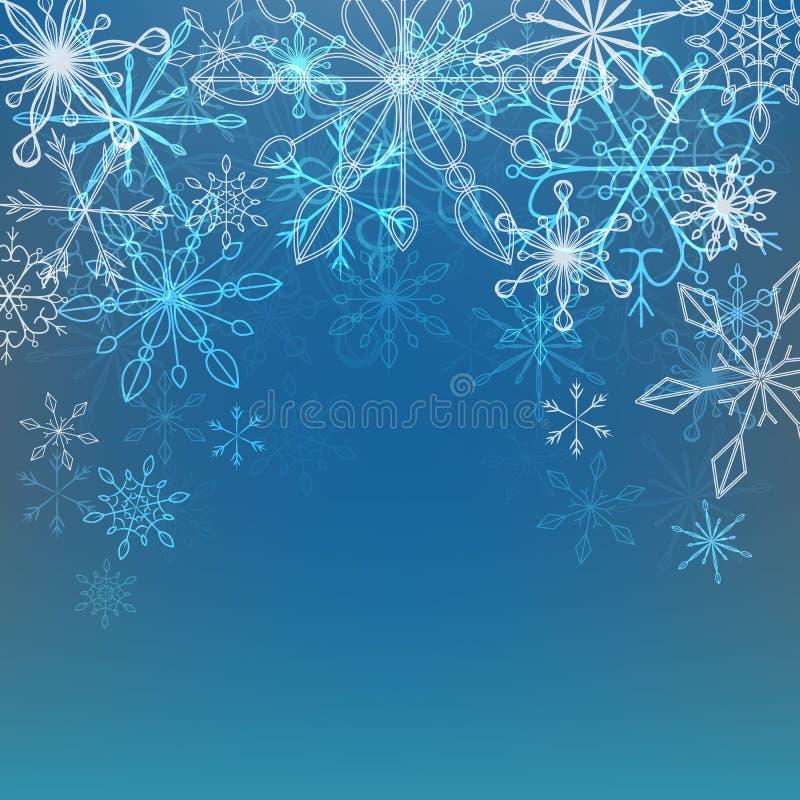 Vektorillustration av en vinterbakgrund med snöflingor vektor illustrationer