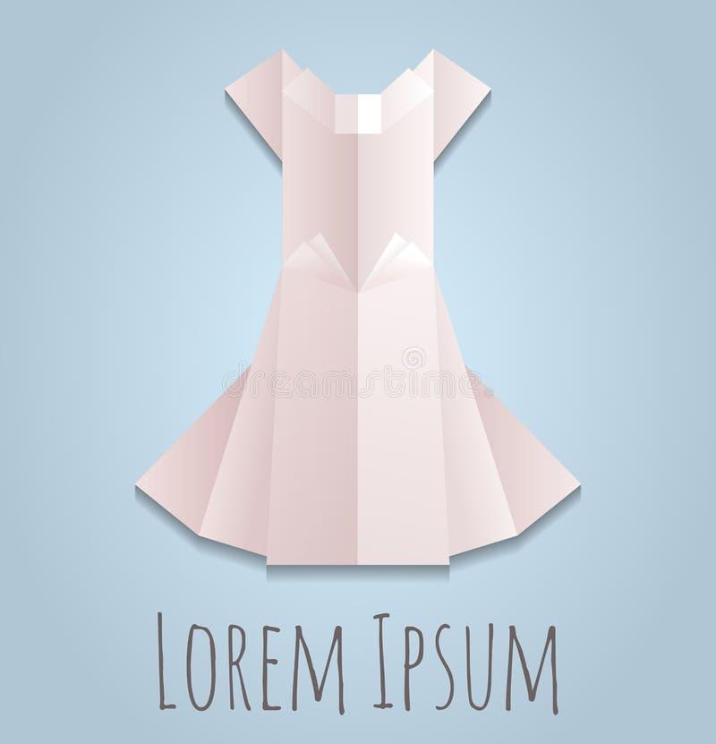 Vektorillustration av en vit klänning för pappers- origami royaltyfri illustrationer
