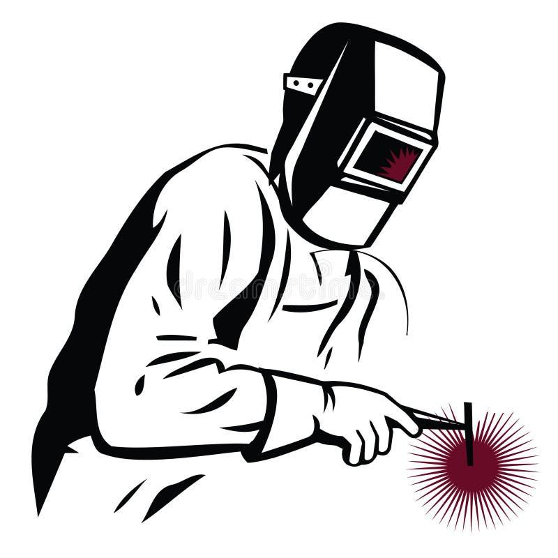 Vektorillustration av en Welder på arbetssvetsning, för företag stock illustrationer
