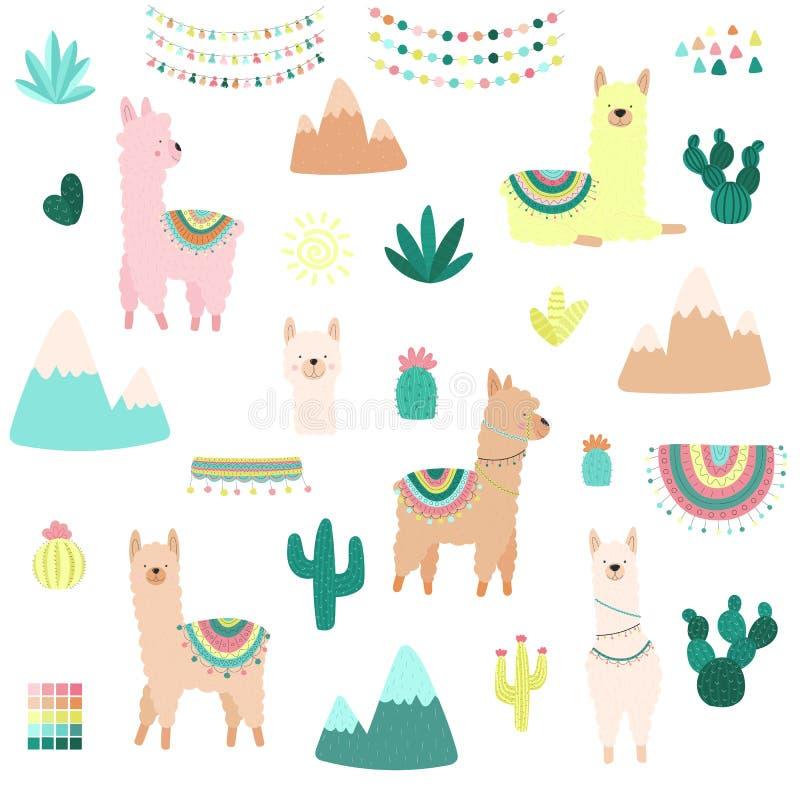 Vektorillustration av endragen samling av lamor eller alpacas, kakturs, berg, kläder, prydnader Bild på söder - amerikan vektor illustrationer