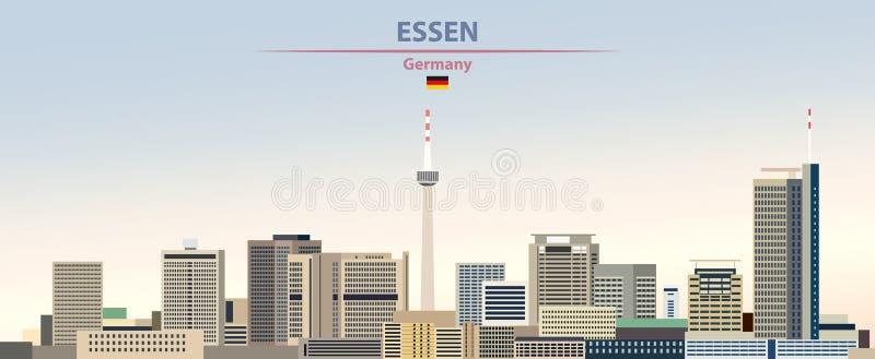 Vektorillustration av Essen stadshorisont på för daghimmel för färgrik lutning härlig bakgrund med flaggan av Tyskland vektor illustrationer
