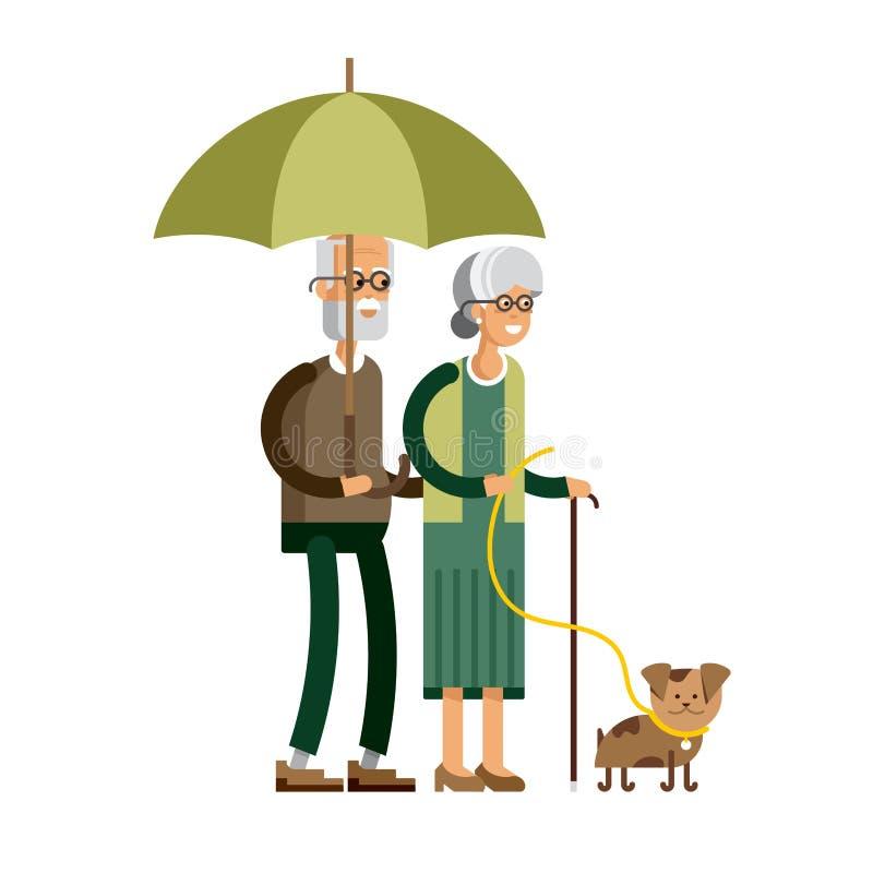 Vektorillustration av ett älska par stock illustrationer