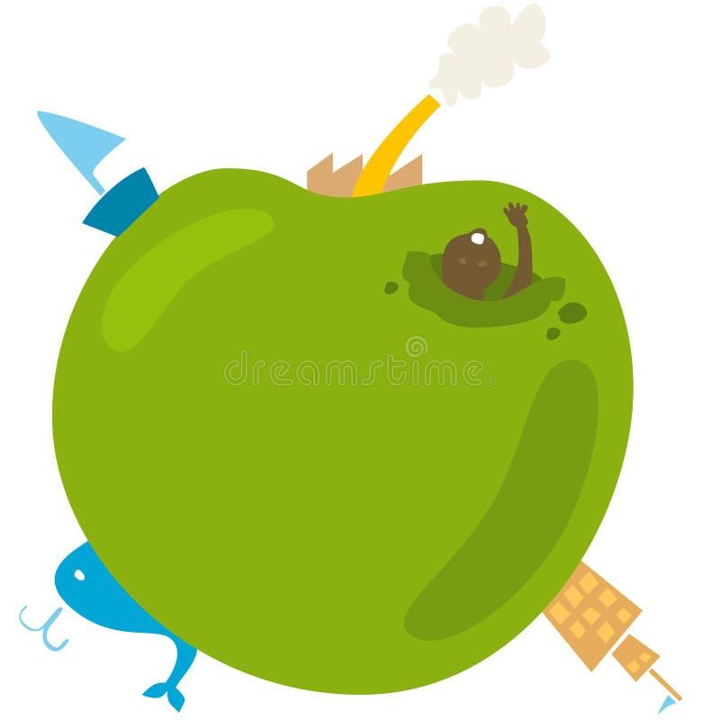 Vektorillustration av ett äpple som världen stock illustrationer