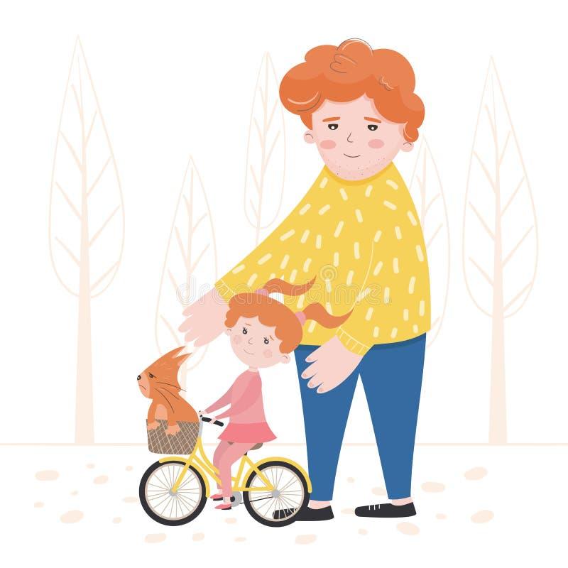 Vektorillustration av ett barn som lär att rida en cykel stock illustrationer