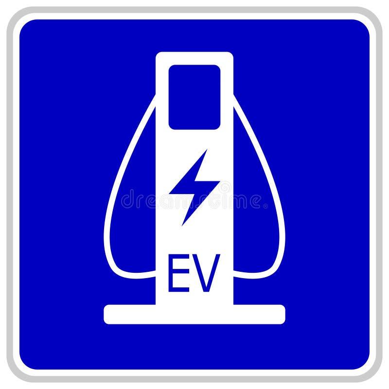 Vektorillustration av ett blått trafiktecken som visar två kablar för laddande elbilar vektor illustrationer