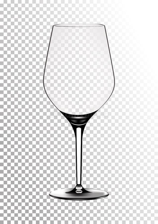 Vektorillustration av ett burgundy vinexponeringsglas i photorealistic stil Ett realistiskt objekt på en genomskinlig bakgrund 3d vektor illustrationer