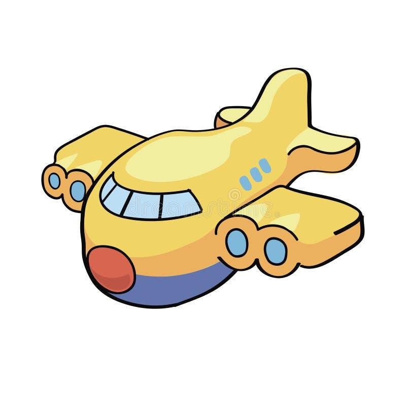Vektorillustration av ett gulligt tecknad filmflygplan vektor illustrationer