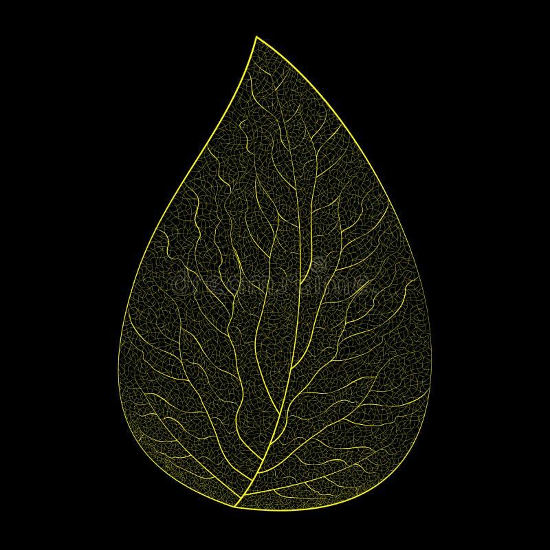 Vektorillustration av ett gult skelett- blad på en svart bakgrund arkivbilder