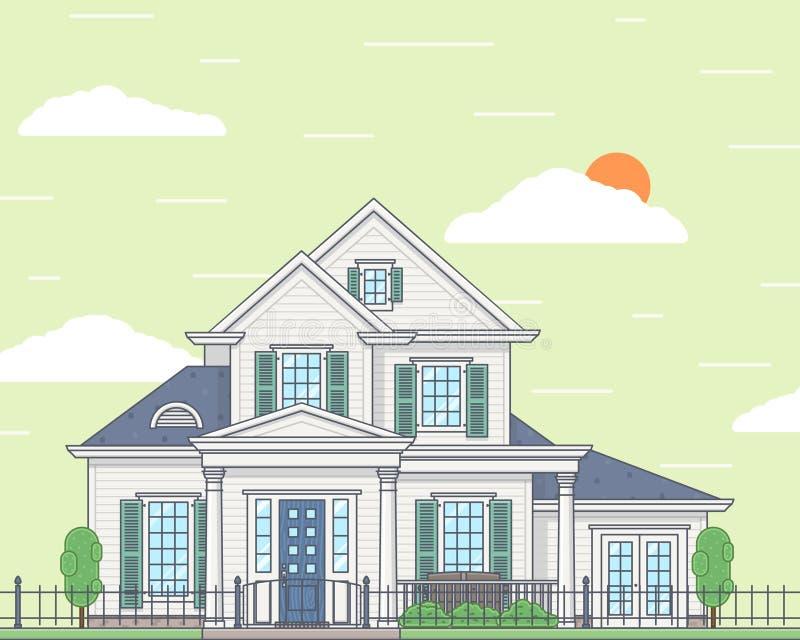 Vektorillustration av ett hemtrevligt hus för vit familj stock illustrationer