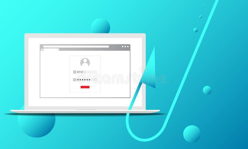 Vektorillustration av ett lyckat phishing attackbegrepp stock illustrationer