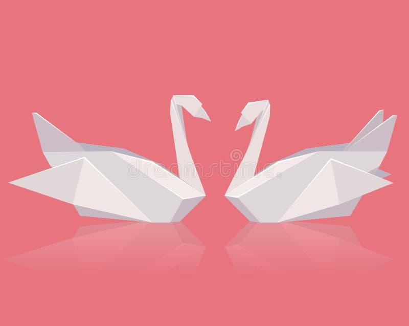 Vektorillustration av ett par av pappers- origamisvanar royaltyfri illustrationer