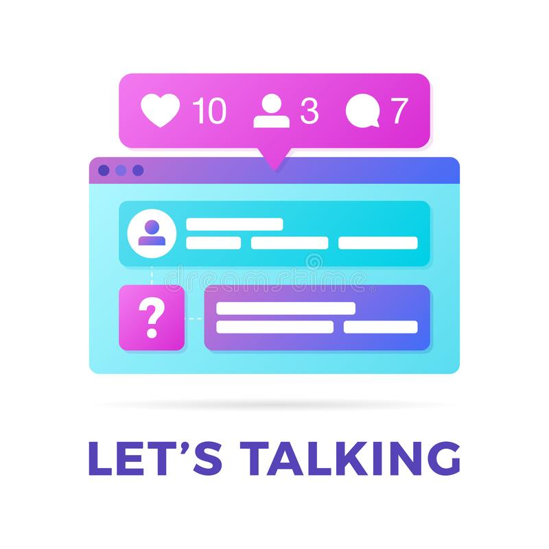 Vektorillustration av ett socialt massmediakommunikationsbegrepp Ordet l?ter samtal med f?rgrika kors-plattformen webbl?saref?nst stock illustrationer