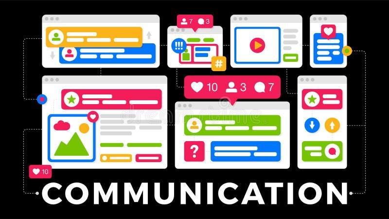 Vektorillustration av ett socialt massmediakommunikationsbegrepp Ordkommunikationen med färgrika kors-plattform webbläsarefönster royaltyfri illustrationer