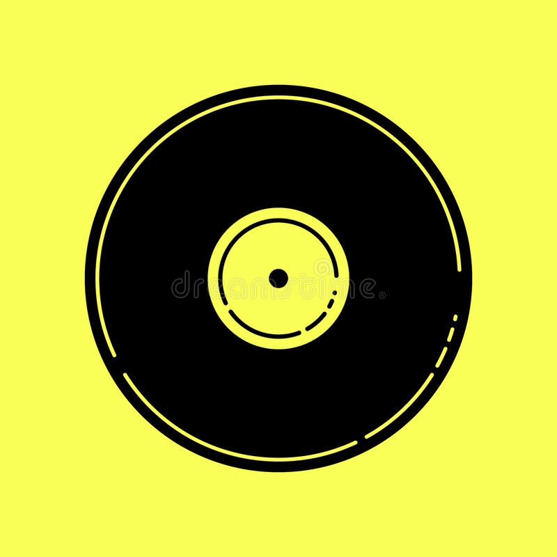 Vektorillustration av ett tomt svart vinylrekord stock illustrationer
