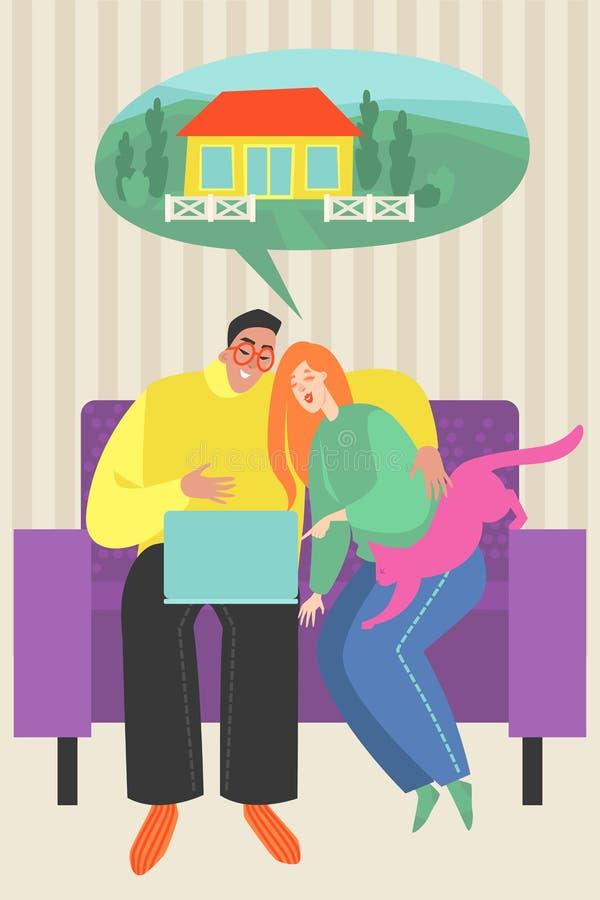 Vektorillustration av ett ungt par som söker efter ett hus på internet vektor illustrationer