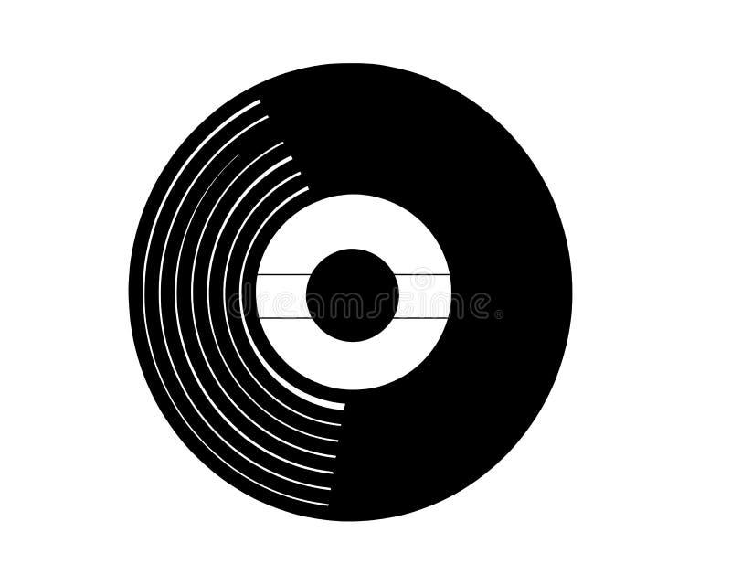 Vektorillustration av ett vinylrekord i realistisk retro designstil Svart musikalisk albumsymbol för lång lek som isoleras på vit royaltyfri illustrationer