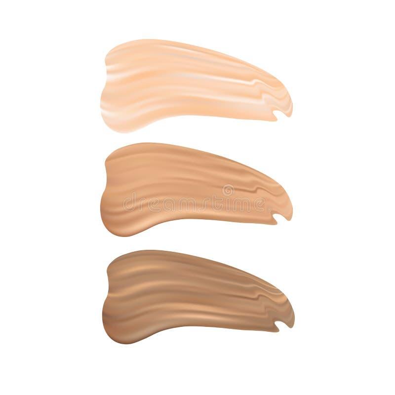 Vektorillustration av färgskuggapaletten för fundamentsmink bakgrund isolerad white vektor illustrationer