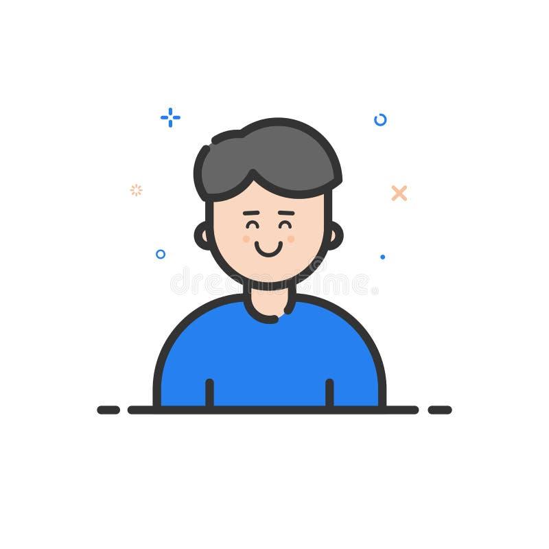 Vektorillustration av färgsymbolen i den plana djärva linjen stil Linjär blå gullig och lycklig man royaltyfri illustrationer