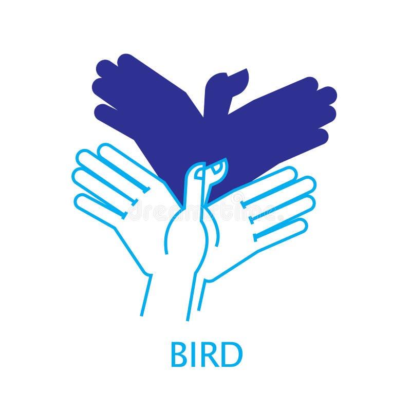 Vektorillustration av fågeln för skuggahanddocka royaltyfri illustrationer