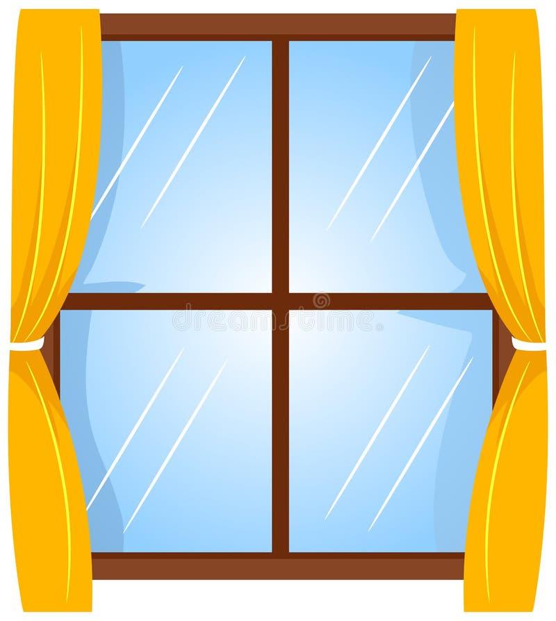 Vektorillustration av fönstret med gardinen vektor illustrationer