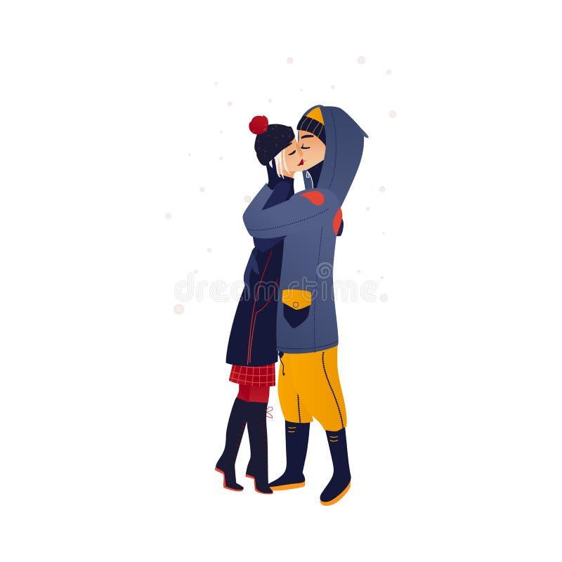 Vektorillustration av förälskat kyssa för unga par med mjukhet under snöfall stock illustrationer