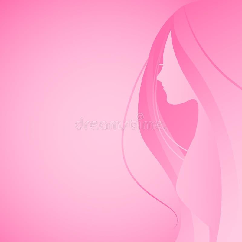 Vektorillustration av f?r h?rkontur f?r kvinna det l?nga huvudet och den halva rosa lutningen f?r ?vrekroppsidosikt i plan design royaltyfri illustrationer