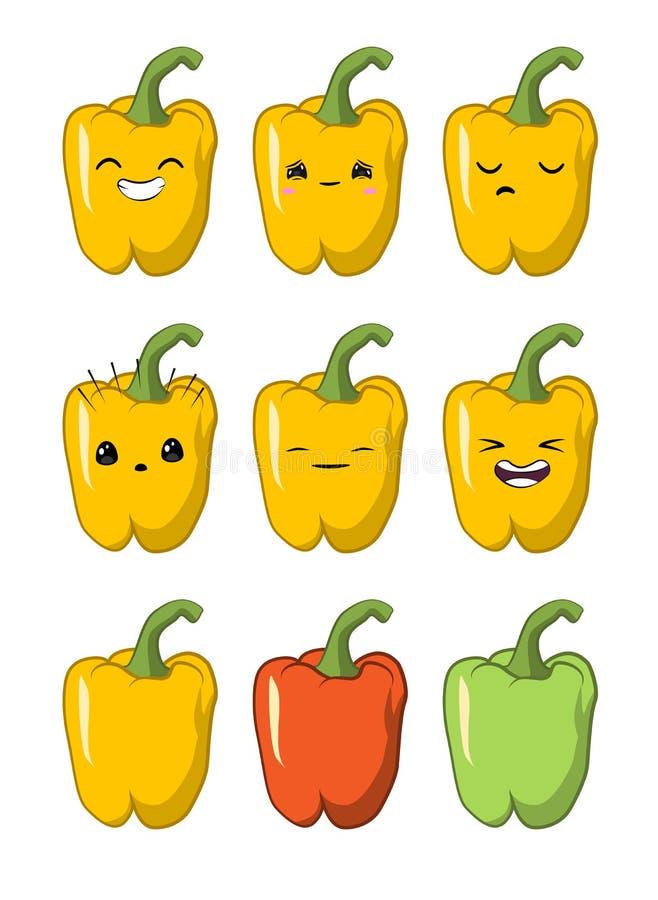 Vektorillustration av för tecknad filmgrönsak för spansk peppar ett gulligt tecken för vektor - uppsättning som isoleras på vit s vektor illustrationer